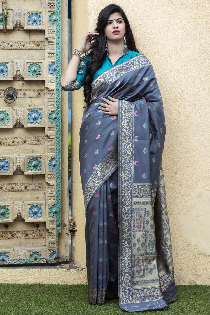 Puja Wear Grey Color Trendy Art Silk Patola Weaving Work Saree