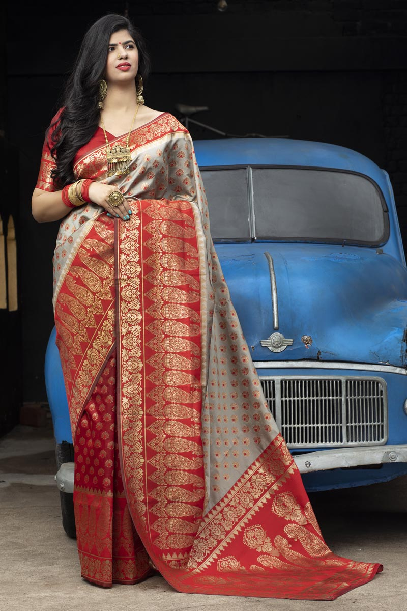 Puja Wear Art Silk Trendy Patola Weaving Work Saree In Red Color