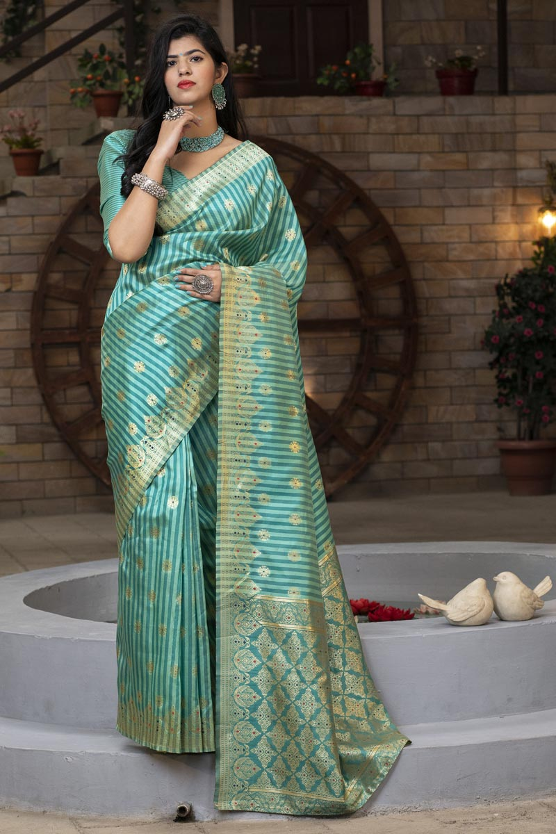 Sea Green Color Puja Wear Trendy Art Silk Patola Weaving Work Saree