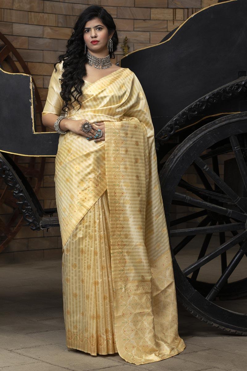 Art Silk Trendy Puja Wear Beige Color Patola Weaving Work Saree