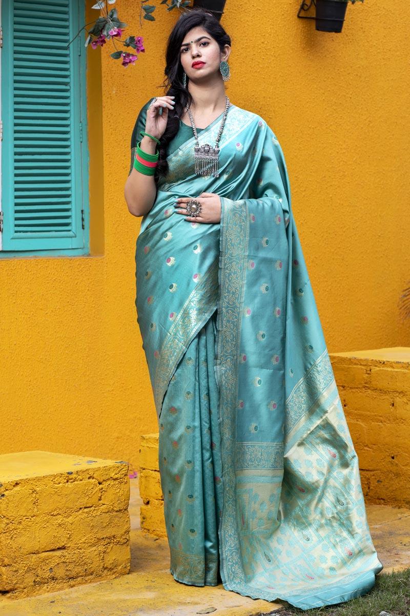 Cyan Color Puja Wear Art Silk Trendy Patola Weaving Work Saree