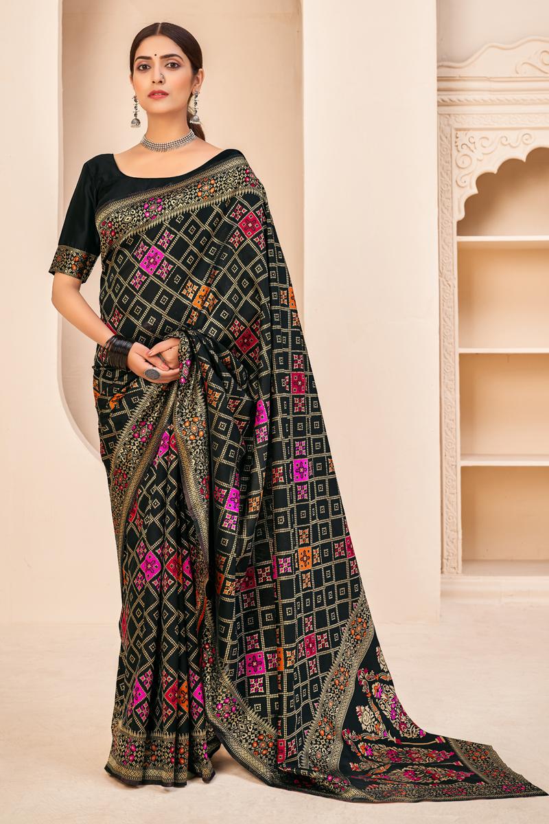 Art Silk Fabric Puja Wear Black Color Weaving Work Saree