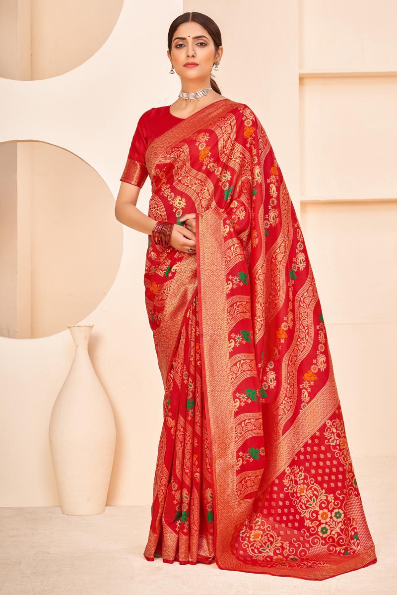 Red Color Function Wear Designer Art Silk Fabric Weaving Work Saree