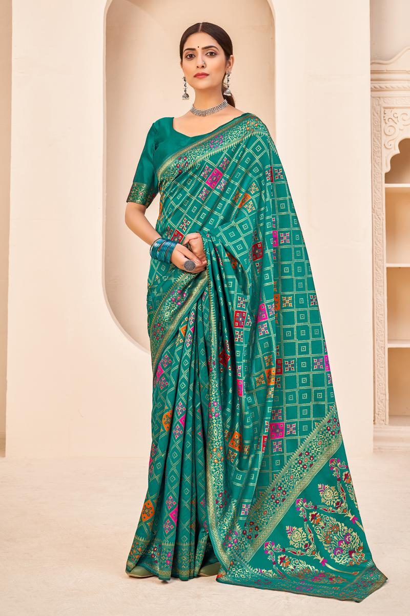 Art Silk Fabric Festive Wear Cyan Weaving Work Saree