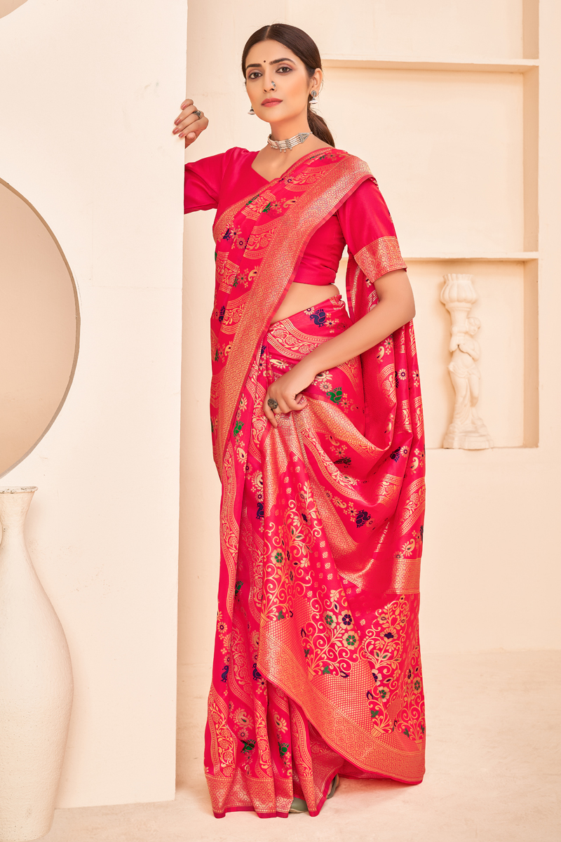 Party Wear Rani Art Silk Fabric Designer Weaving Work Saree
