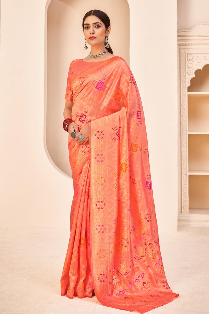 Peach Color Wedding Wear Designer Art Silk Fabric Weaving Work Saree