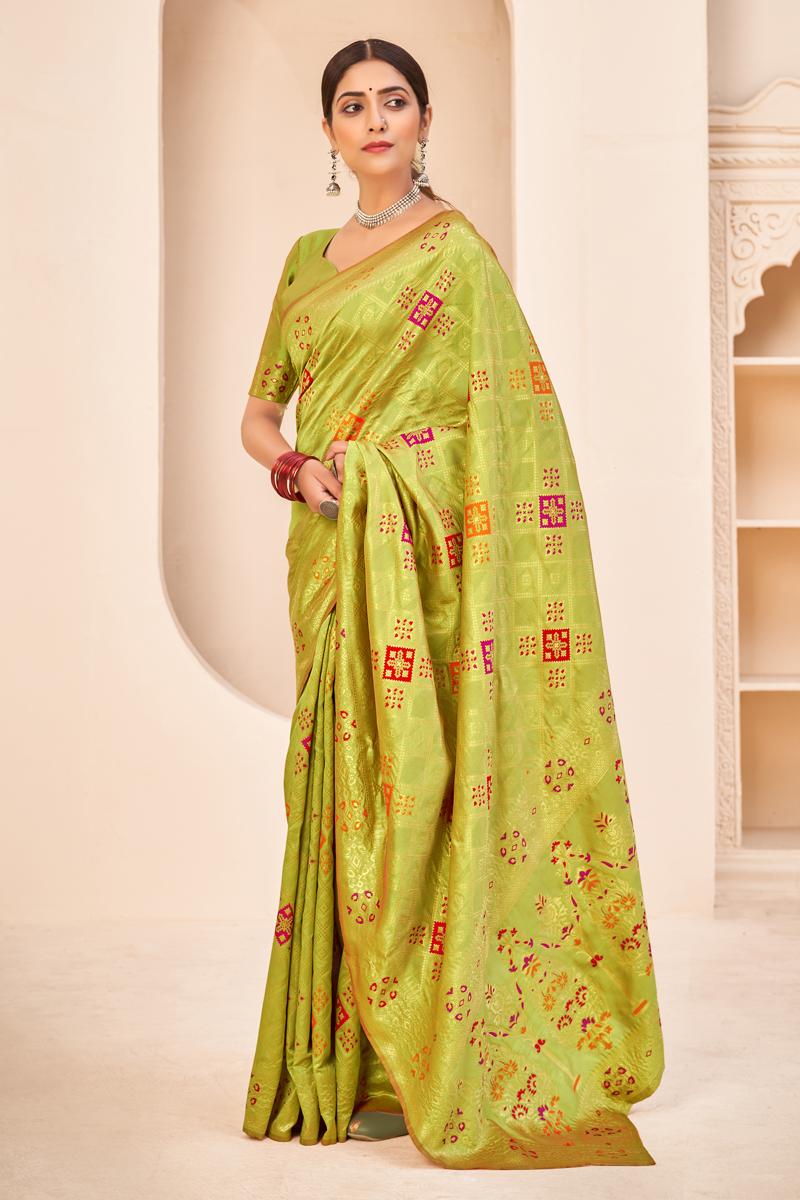 Art Silk Fabric Reception Wear Green Color Weaving Work Saree