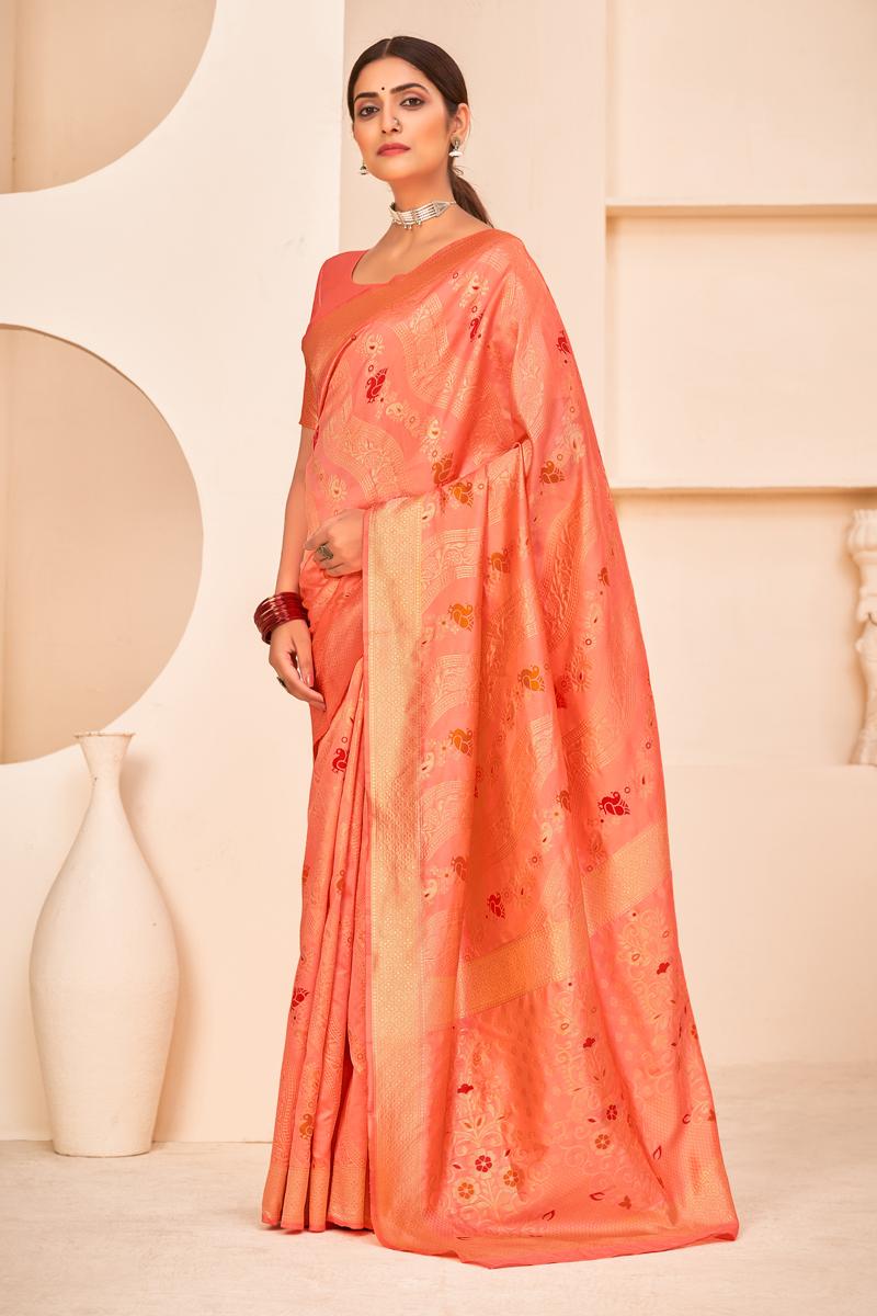 Peach Color Puja Wear Art Silk Fabric Designer Weaving Work Saree