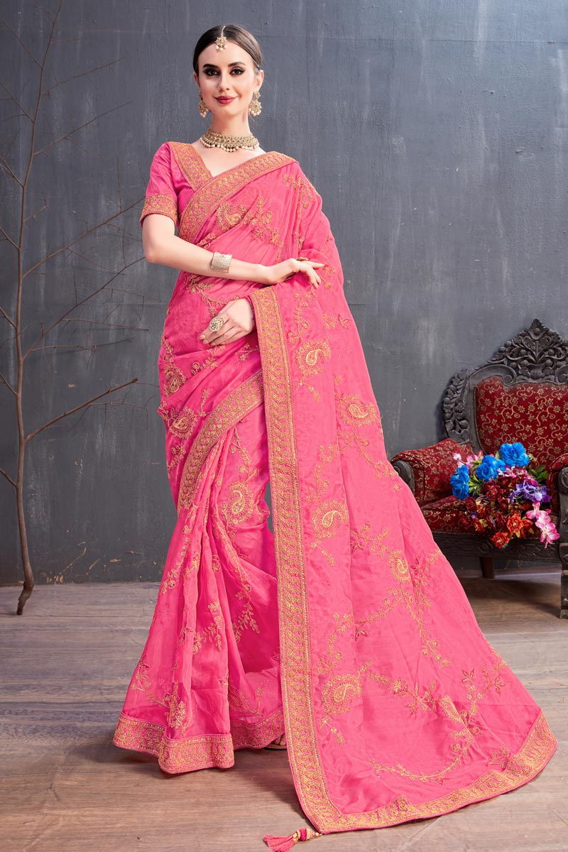 Pink Fancy Fabric Party Wear Saree With Embroidery Work And Enigmatic Blouse