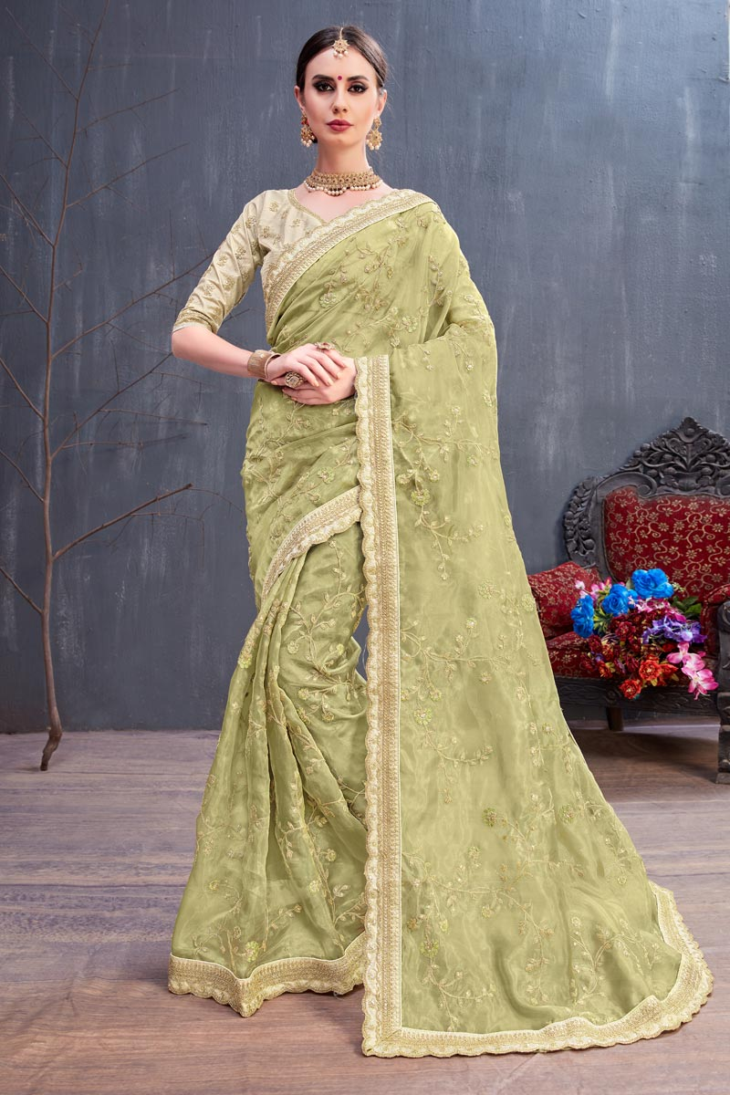 Embroidery Work On Fancy Fabric Party Wear Saree In Khaki With Beautiful Blouse