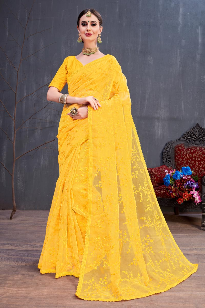 Yellow Designer Saree In Fancy Fabric With Embroidery Designs And Attractive Blouse