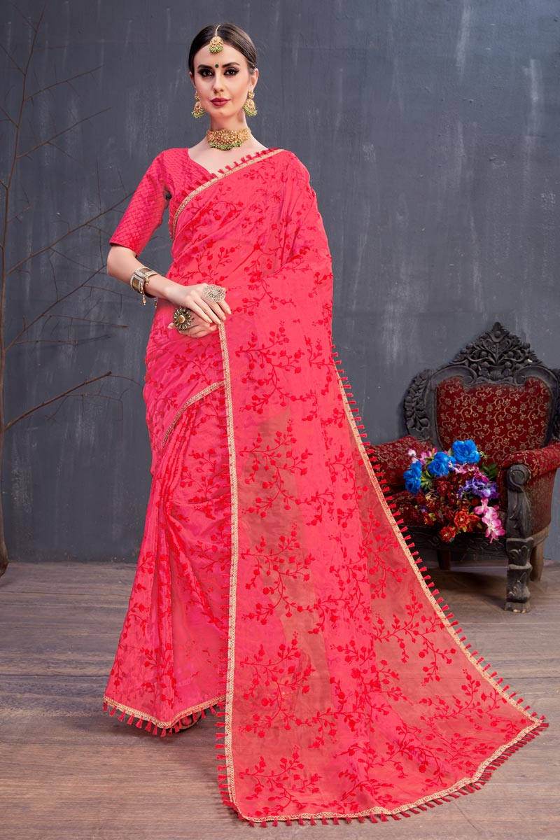 Fancy Fabric Red Occasion Wear Saree With Embroidery Work And Designer Blouse