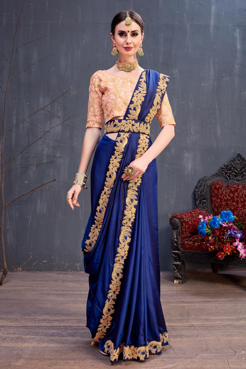 Blue Party Wear Saree In Art Silk Fabric With Lace Work And Beautiful Blouse