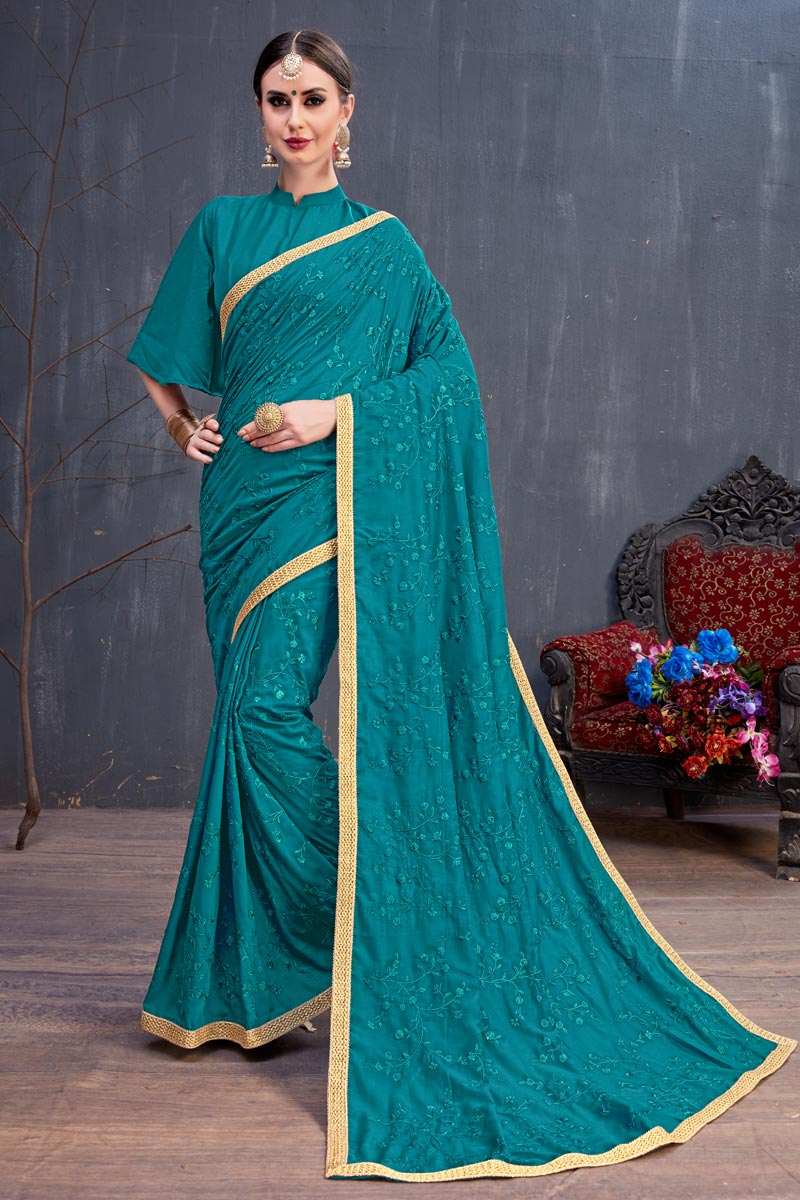 Embroidery Work On Cotton Fabric Dark Cyan Function Wear Saree With Marvelous Blouse