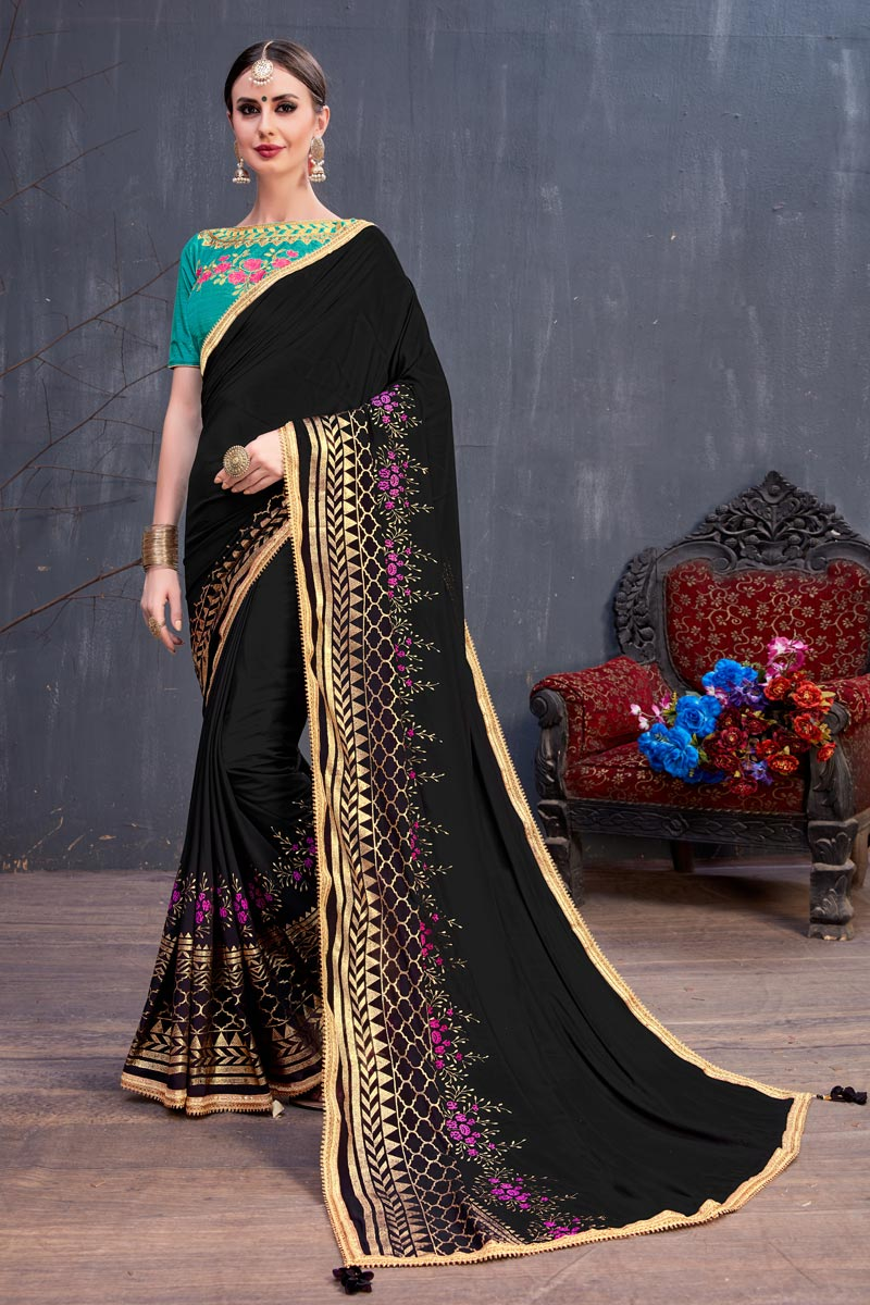 Black Georgette Fabric Wedding Wear Saree With Lace Work And Gorgeous Blouse