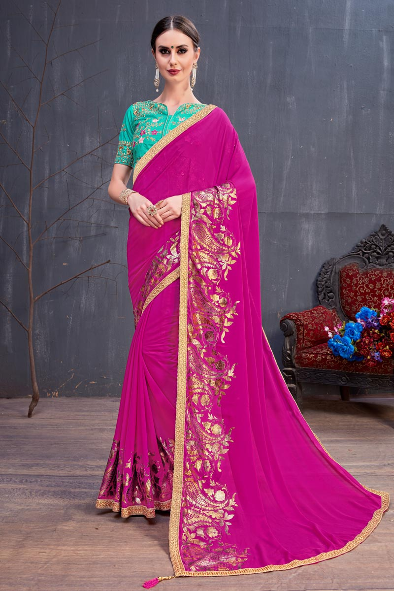 Georgette Fabric Lace Work Designs On Dark Pink Reception Wear Saree With Attractive Blouse