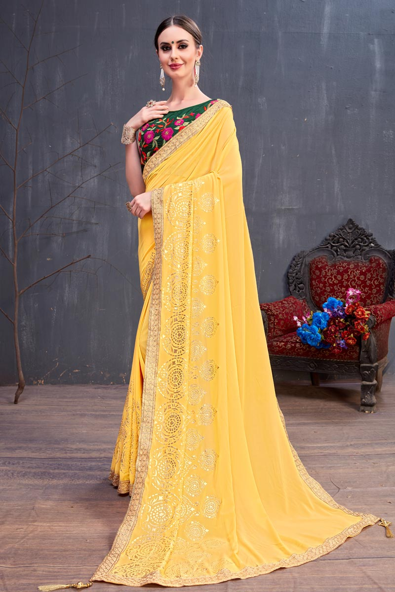 Georgette Fabric Yellow Lace Work Designer Saree With Designer Blouse