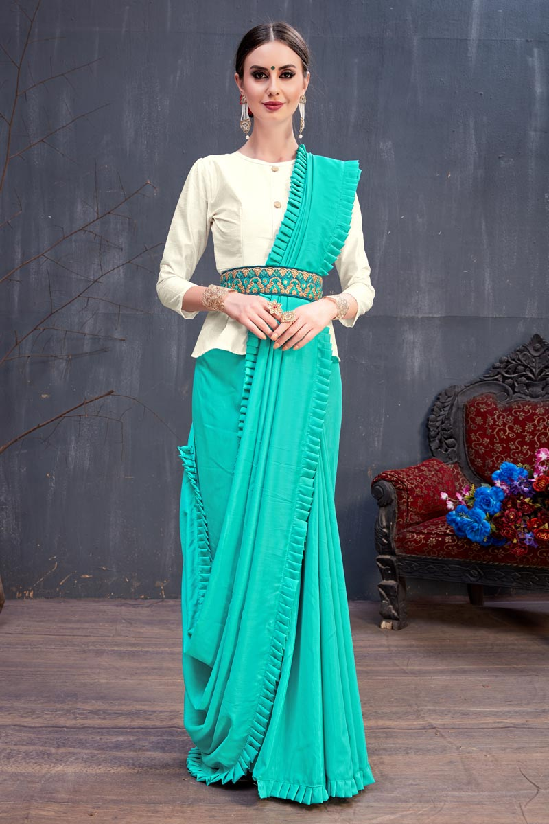 Cotton Fabric Cyan Plain Designer Saree With Designer Blouse