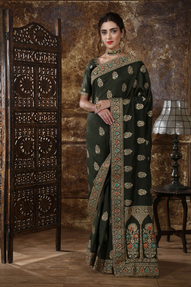 Silk Fabric Black Festive Saree With Embroidery Work And Gorgeous Blouse