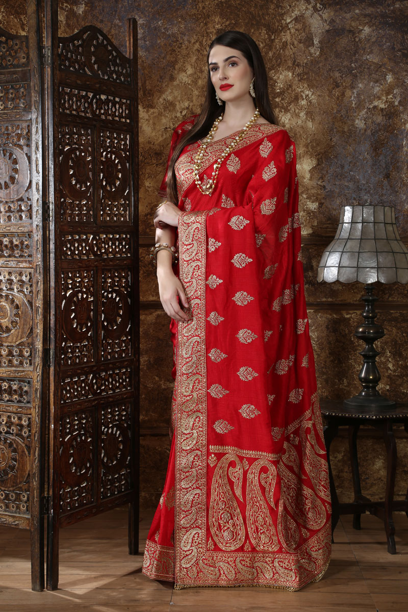 Embroidery Work On Occasion Wear Saree In Red With Designer Blouse