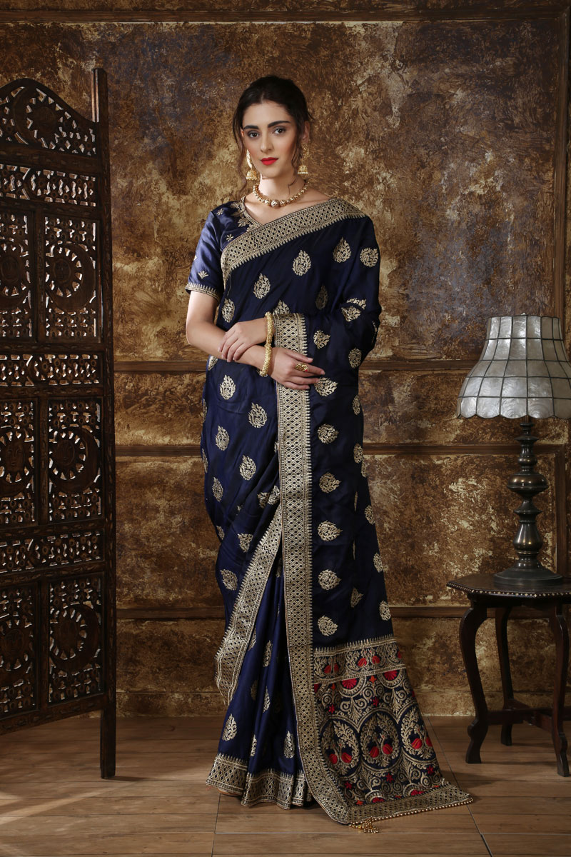 Embroidery Work On Navy Blue Designer Saree In Silk Fabric With Admirable Blouse