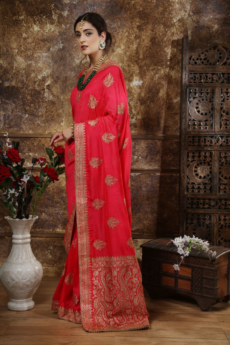 Embroidery Work On Silk Fabric Red Saree For Mehendi Ceremony