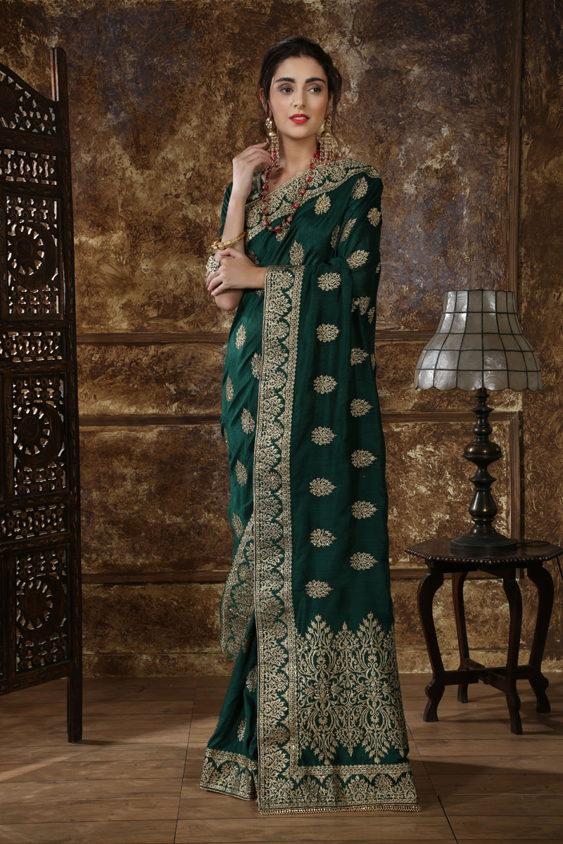 Traditional Dark Green Saree In Silk Fabric With Embroidery Work For Wedding Function