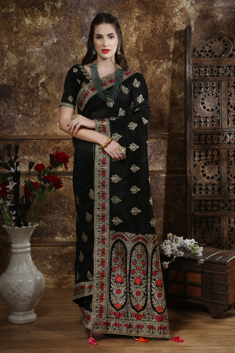 Embroidery Work On Silk Fabric Party Wear Saree In Black With Beautiful Blouse