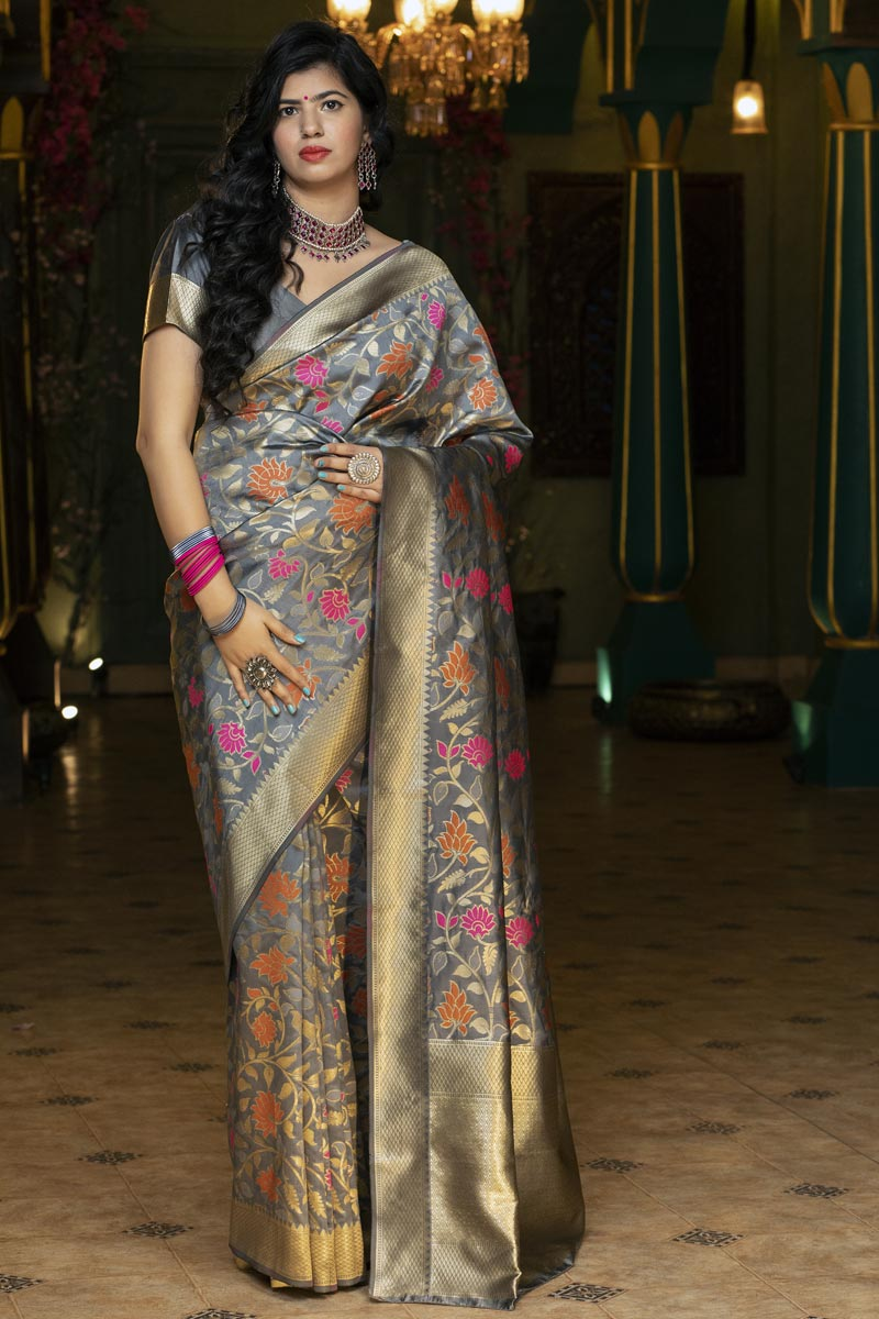 Grey Color Function Wear Art Silk Fabric Weaving Work Saree