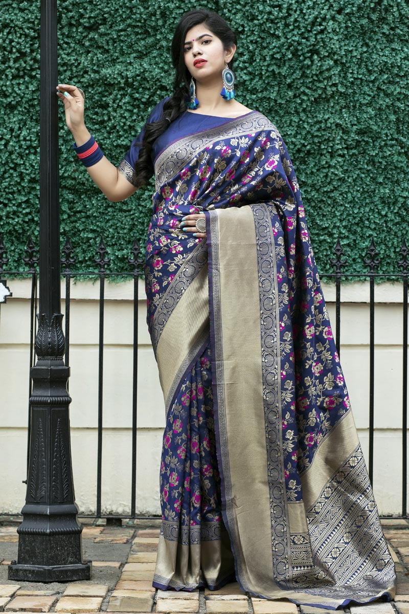 Art Silk Fabric Festive Wear Navy Blue Color Weaving Work Saree