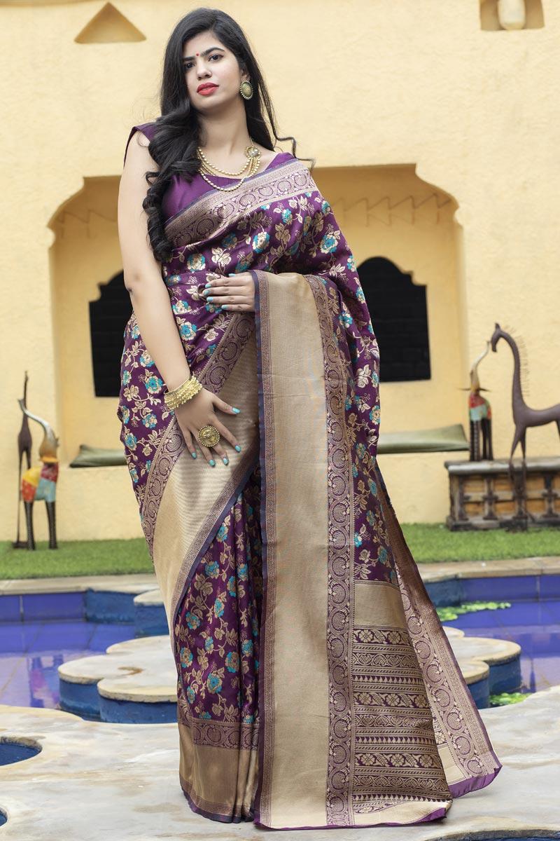 Festive Wear Purple Color Art Silk Fabric Weaving Work Saree