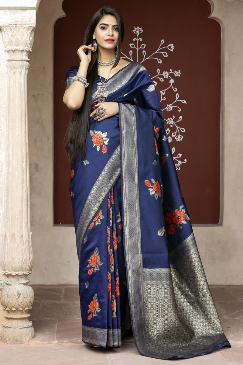 Party Wear Art Silk Fabric Weaving Work Saree In Navy Blue Color