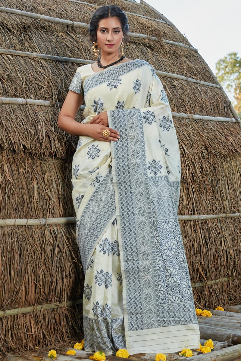 Art Silk Fabric Designer Party Wear Saree In Beige Color