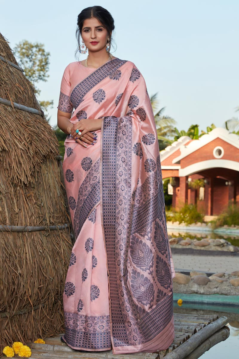 Peach Color Art Silk Fabric Saree For Mehendi Ceremony