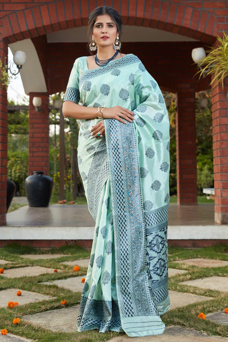 Art Silk Fabric Sea Green Color Saree For Wedding Function