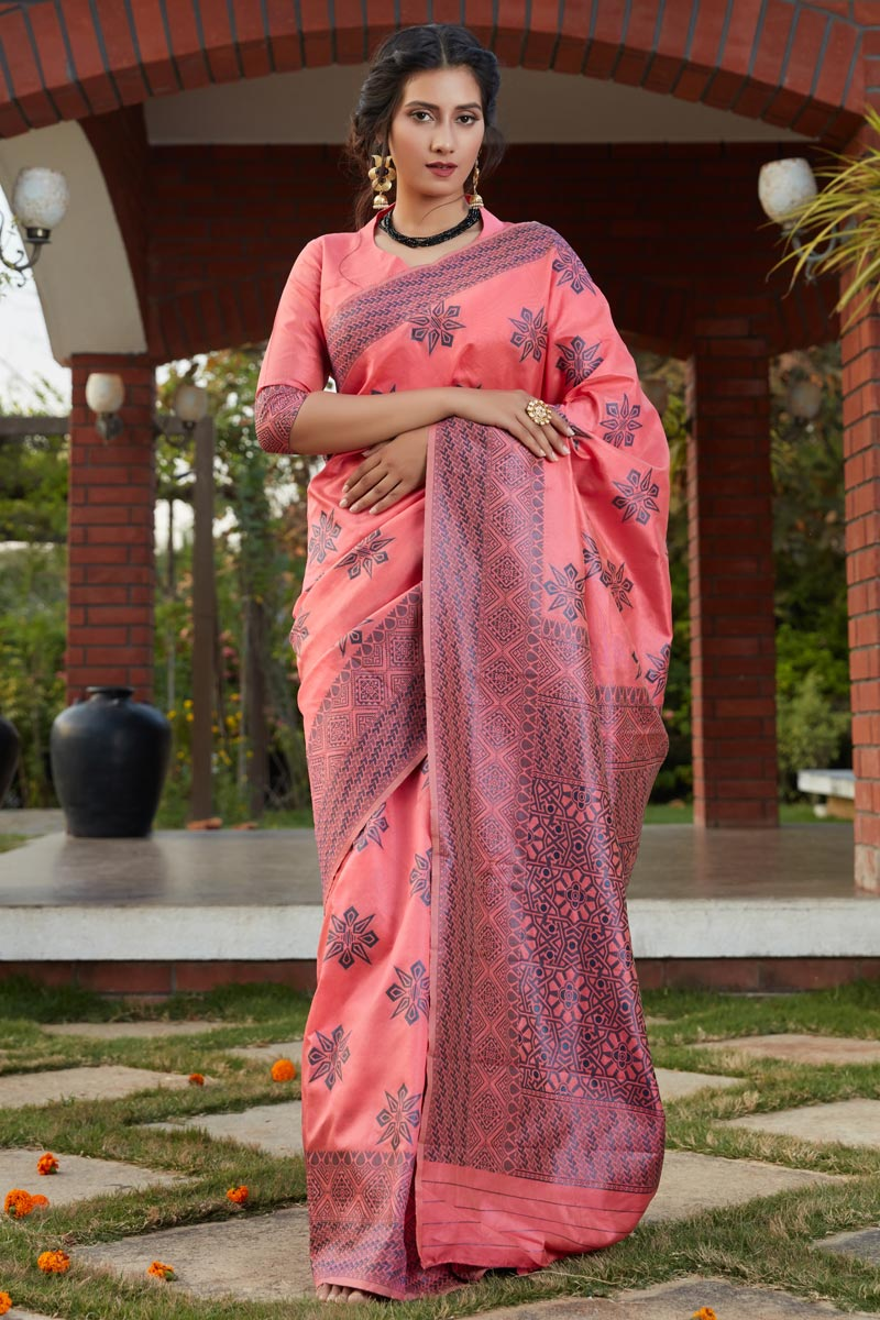 Art Silk Fabric Function Wear Pink Color Weaving Work Saree