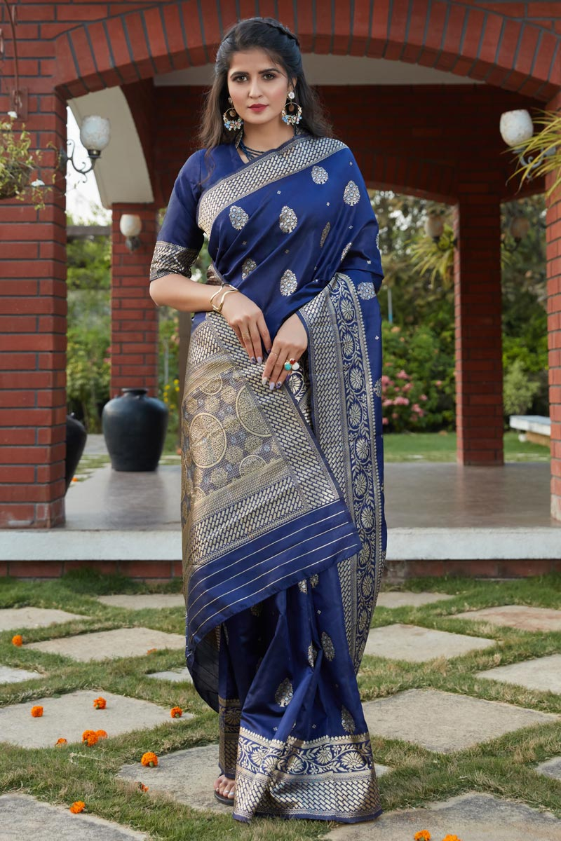 Art Silk Fabric Festive Wear Weaving Work Saree In Navy Blue Color