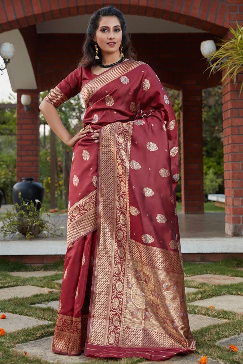 Art Silk Fabric Party Wear Maroon Color Weaving Work Saree