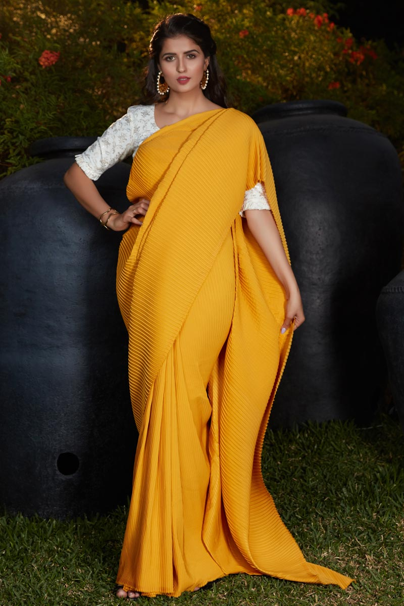 Yellow Color Art Silk Fabric Party Wear Designer Saree