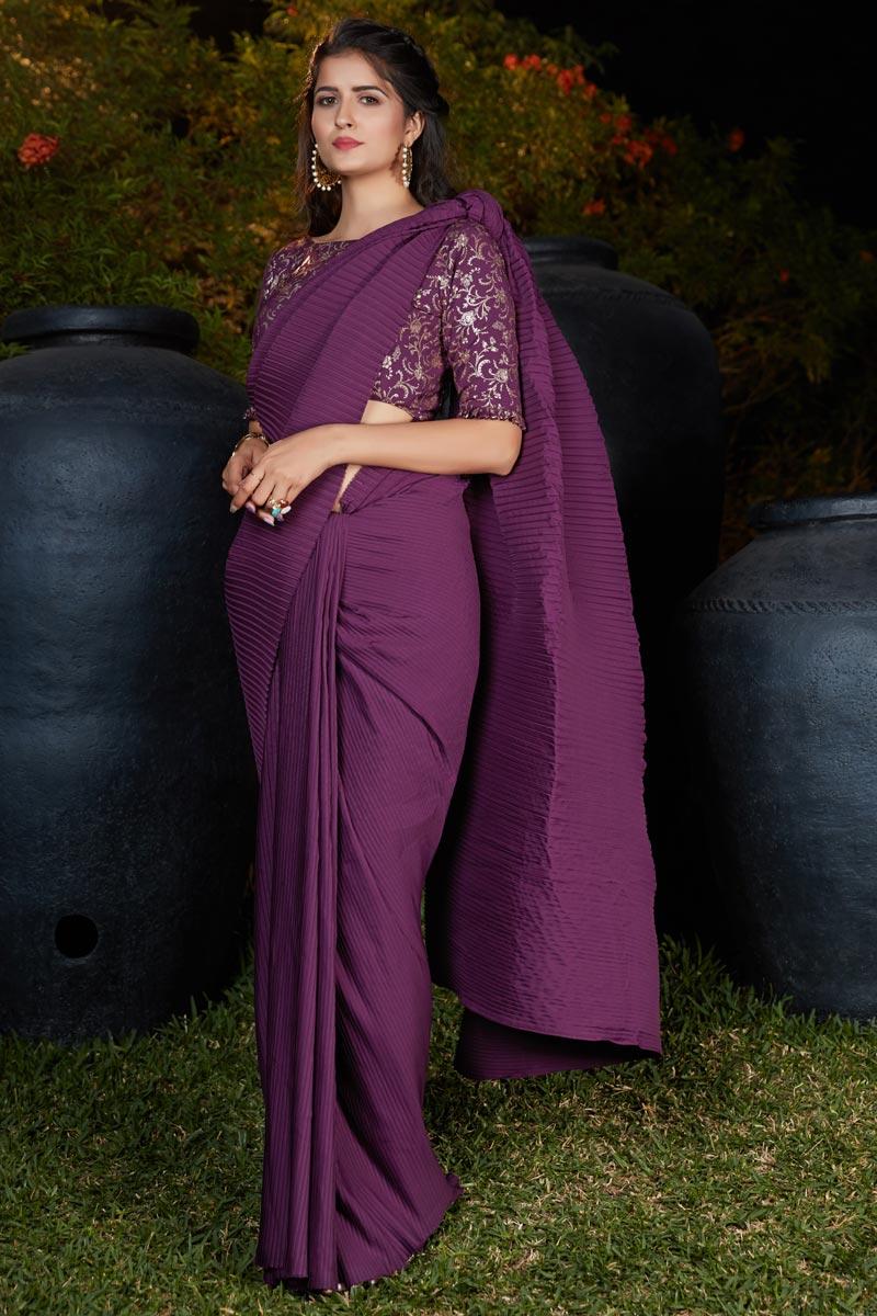 Purple Color Art Silk Fabric Saree For Mehendi Ceremony