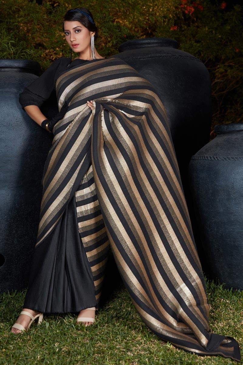 Art Silk Fabric Black Color Saree For Wedding Function