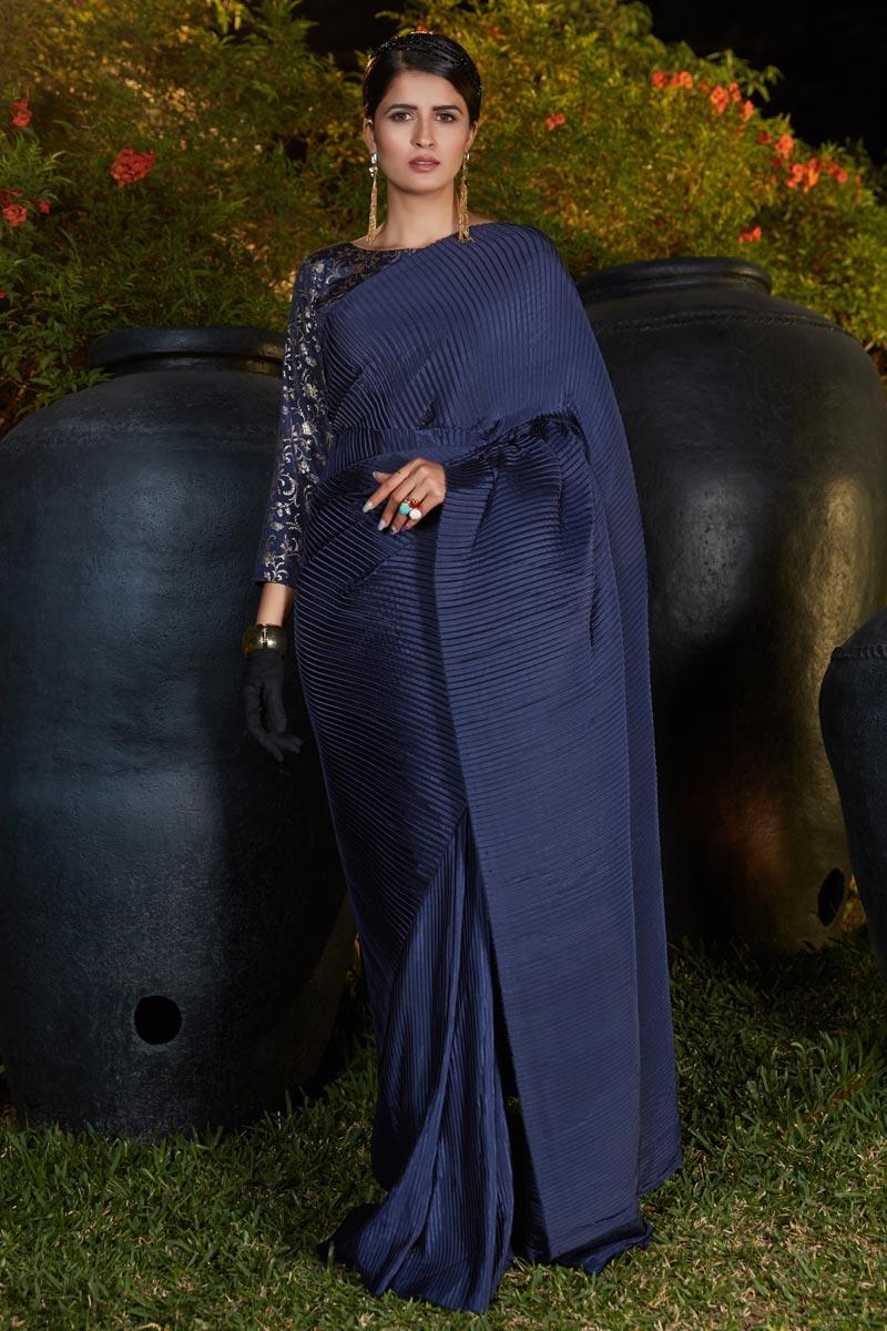Art Silk Fabric Function Wear Navy Blue Color Fancy Work Saree