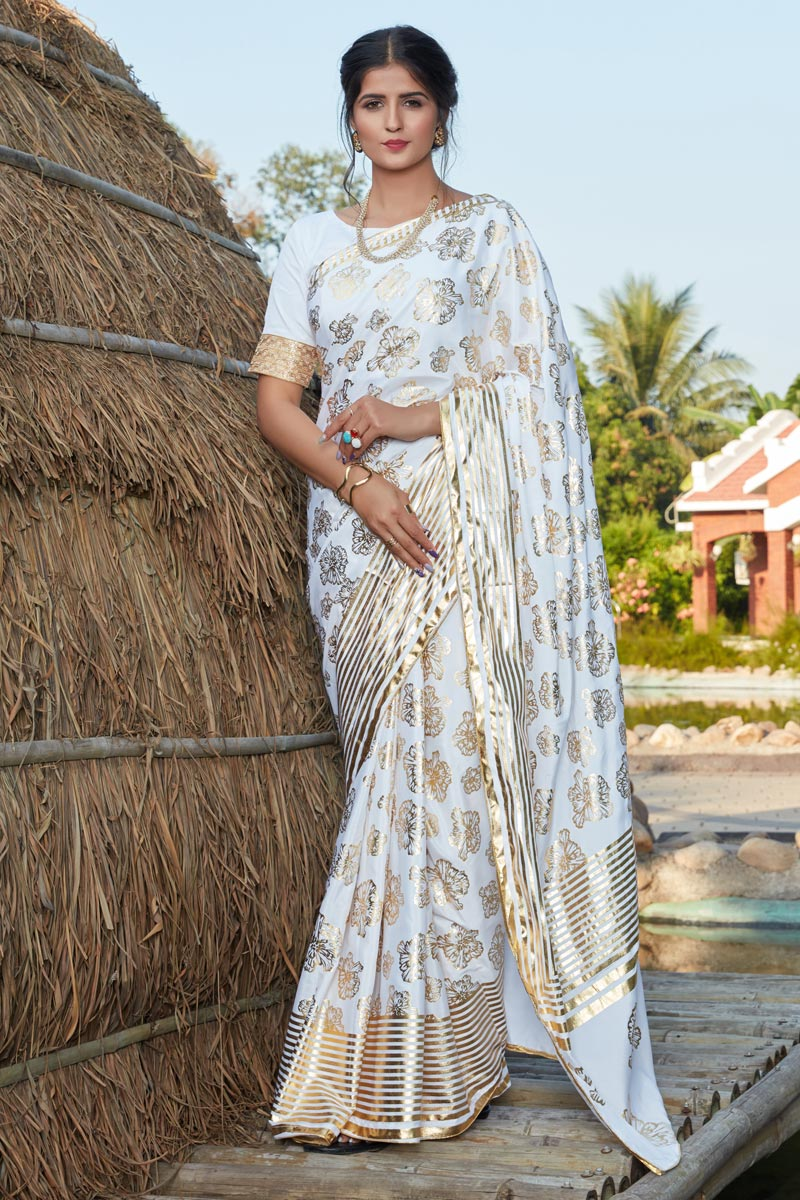 Off White Color Art Silk Fabric Occasion Wear Foil Printed Saree