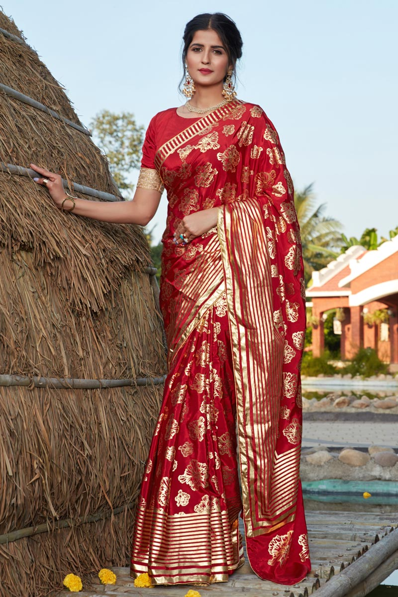 Designer Art Silk Fabric Red Color Party Wear Foil Printed Saree