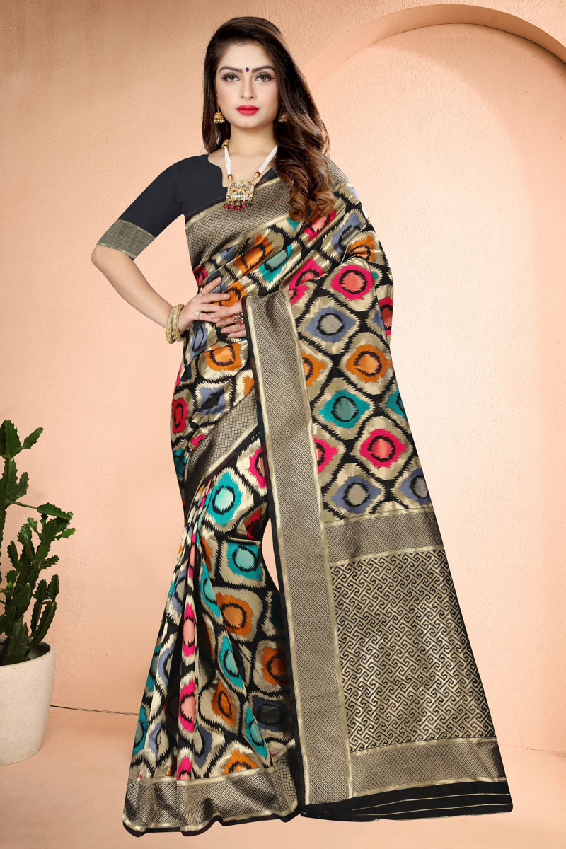 Weaving Work Black Color Party Wear Saree In Banarasi Silk Fabric
