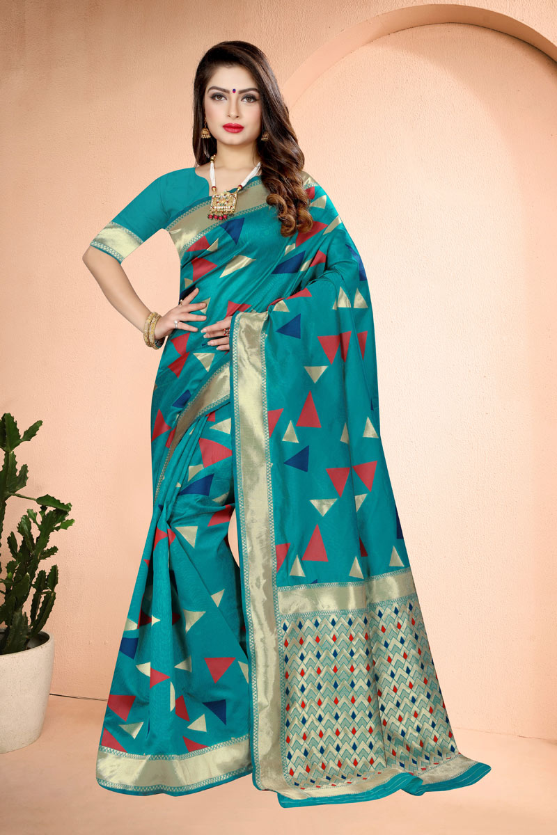 Dark Cyan Color Weaving Work Banarasi Silk Fabric Occasion Wear Saree