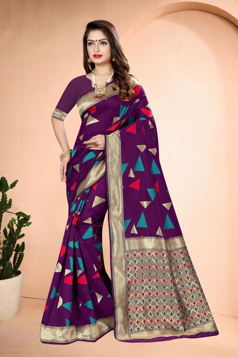 Weaving Work Purple Color Banarasi Silk Fabric Function Wear Saree