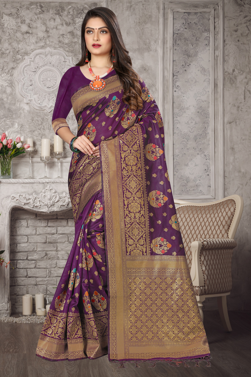 Purple Color Fancy Weaving Work Saree In Art Silk Fabric