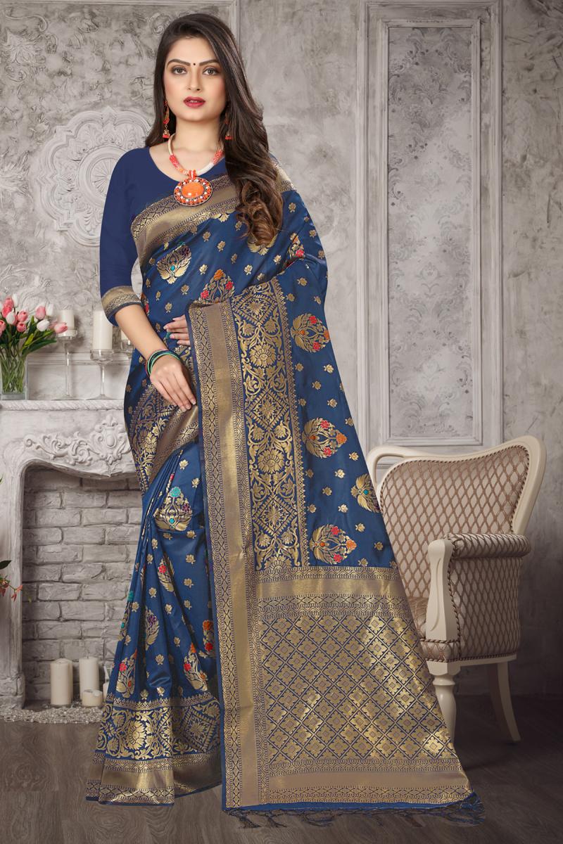 Art Silk Fabric Navy Blue Color Designer Weaving Work Saree