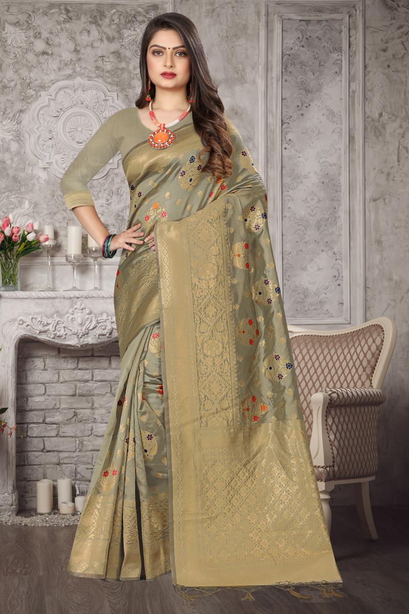Dark Beige Color Party Wear Weaving Work Saree In Art Silk Fabric